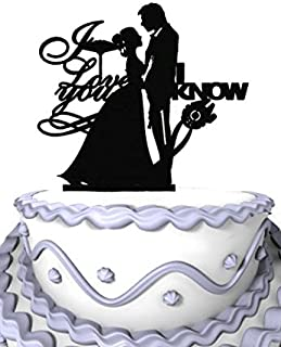 Meijiafei Wedding Cake Topper -I Love You -I Know - Bride and Groom Silhouette for Ruby Wedding Decoration