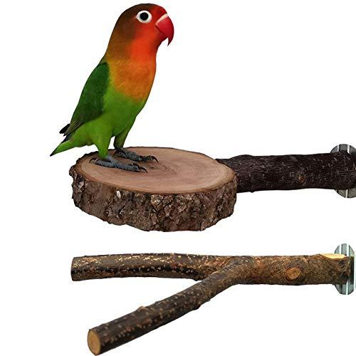Joody - Juego de 2 palos para pájaros de madera natural y plataforma de soporte para jaula, accesorios de jaula de pájaros, juguetes de molienda de patas para pequeños conros y cockatiels