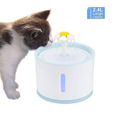 Katzenbrunnen Katzen Trinkbrunnen 2.4L pet elektrische Wasserspender LED Nachtsicht transparent Wasserstand Fenster Filter Blumenart Stumm automatisch Katze Brunnen Trinkbrunnen Katze ( Color : Blue )