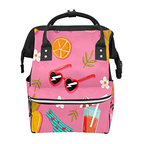 Rucksack Berufsgetränke Sonnenbrille Orange Ananas Pink Bikini Große Kapazität Tasche Reise Daypack