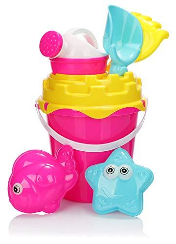 com-four® 7-teiliges Strandspielzeug-Set - Sandspielzeug für Strand und Sandkasten - Eimer, Schippe, Formen und Gießkanne [Auswahl variiert] (Set 2 - 07-teilig)