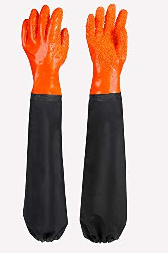 Guantes de trabajo largos para estanque, resistentes a ácidos y lejías, resistentes al agua, para cubrir las partículas, guantes de goma para el cuidado de los acuarios y estanques, color naranja