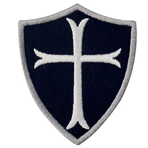 Caballeros templarios escudo cruzado militar moral Broche Bordado de Gancho y Parche de Gancho y bucle de cierre, Blanco negro