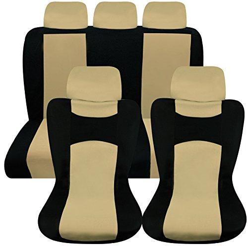 Hamimelon Universal Auto Autositzabdeckung Autositzbezuege KFZ PKW Sitzbezuege Schonbezuege Bezug Sitzschoner Sitzschutz Schutz Komplettset Beige