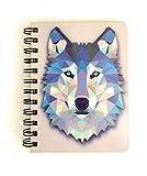 Handmade Wood Cover Spiral 3D Digital Notebook Notepad Journal Handmade Wooden Stationery Wolf Ice