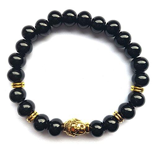 Lion & Son Totenkopf-Armband Buddha-Bracelet Woman-Fashion Loewen-Perlen-Band Skull-Schaedel Onyx-Kugeln
