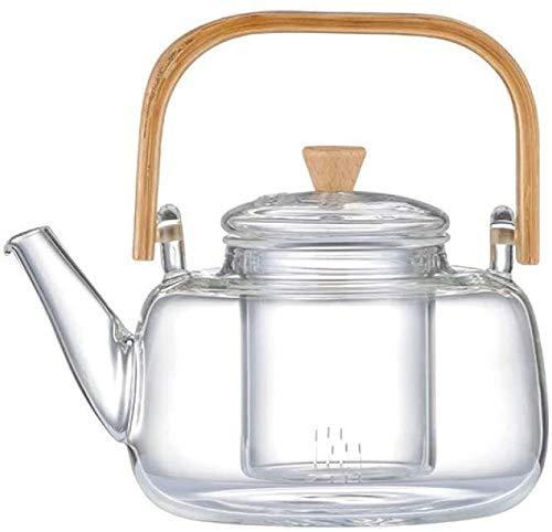 Bouilloire induction Bouilloire Boucle de bombe Bamboo Théière en verre Théière en verre résistant à la chaleur Pot de thé en verre de Kung Fu 900ml pour la maison en plein air WHLONG