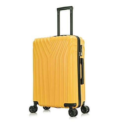 OM HOME Maleta De Viaje Mediana Equipaje De Viaje ABS+PC, Cerradura TSA Ligera Resistente (Yellow, 24 Inch 67CM)