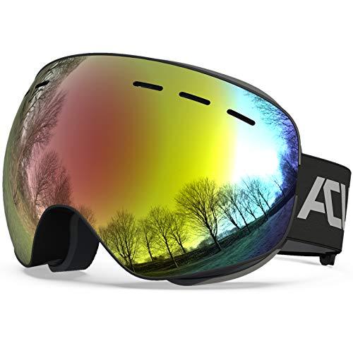 スノーボード ゴーグル スキー ゴーグル OTG(メガネ対応)フレームレススノーゴーグル、防曇加工 ダブルレンズ 、ジュニア向き、男女兼用 UV400保護 紫外線100%カット