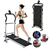 GIFTT Treadmills for Home, Foldable Electric Treadmill LCD Display Motorized Running - Shock-Absorbing Manual tredmills for Running Work Gym Workout Fitness Exercise