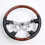 QYSZYG Accesorios de reparación de automóviles For Toyota Land Cruiser LC120 Accesorios 2003-2009 Volante de aleación de Aluminio con Madera y Cuero.