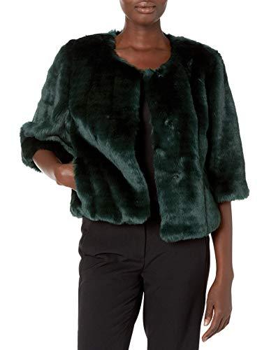 Calvin Klein Women's Solid Faux Fur Shrug, Malachite, Medium