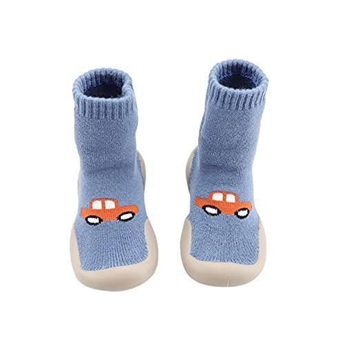 KLGR Calcetines, zapatos de bebé, zapatos para aprender a andar, zapatos para niños, niñas, zapatos gruesos, cálidos, zapatos para bebé, suelos, calcetines suaves, azul, 20