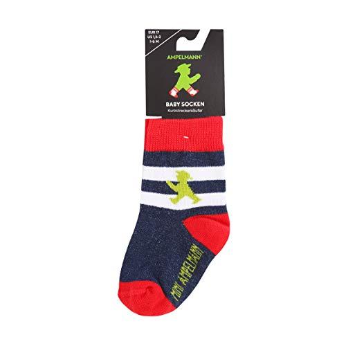 AMPELMANN Kurzstreckenläufer | Babysocken mit Streifen | in blau, weiß, rot und grün mit Geher - Ökotex 100 Standards (6-12)