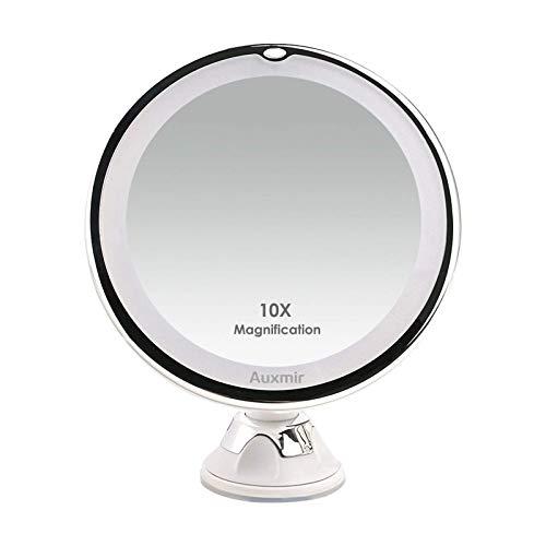 Auxmir Kosmetikspiegel LED Beleuchtet mit 10x Vergrößerung, 2 Helligkeitsstufen und Saugnapf, 360° Schwenkbar, Makeup Spiegel Schminkspiegel mit Blendfreier Beleuchtung für Zuhause und Unterwegs