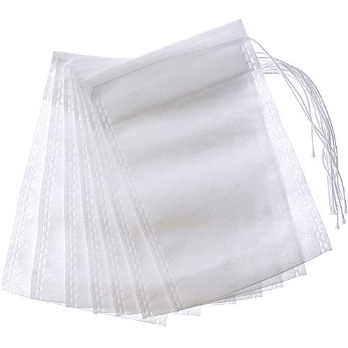 200 Pcs Tea Filter Bag Empty Loose Leaf Tea Bags Disposable Coffee Filter Bag Drawstring Filter Bags for Tea and Coffee 4 x 6 Inches