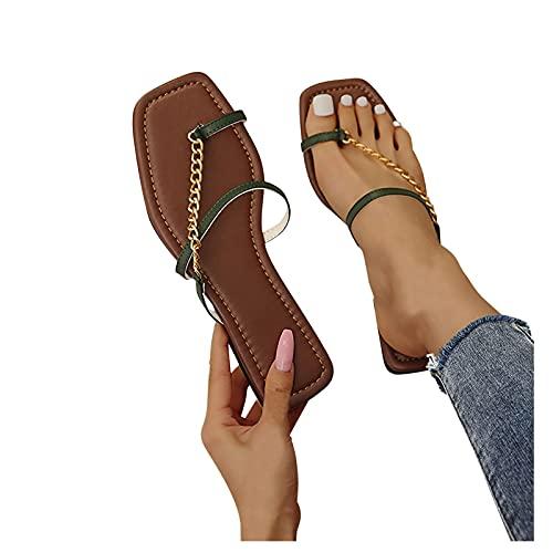 Aniywn Toe-Ring Slides Glitter Sandals,Women's Open Toe Flat Sandals Stylish Casual Slip On Outdoor Beach Shoes Green