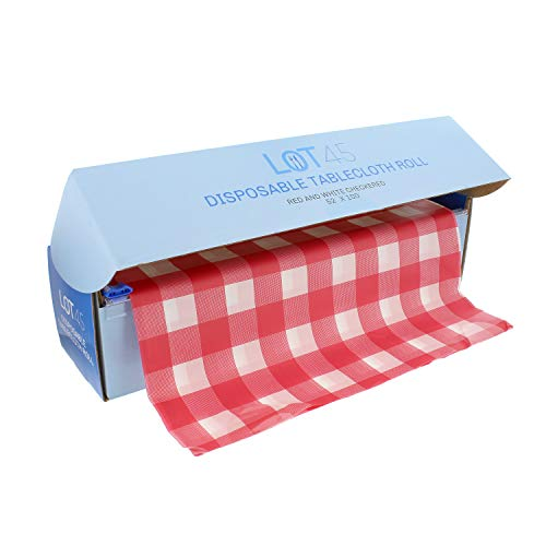 Lot45 Plastic Table Covers - 100ft x 52in Disposable Tablecloth Roll, Checkered Red and White Plastic Tablecloth Roll