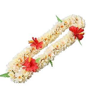 MVIP Simulation Flower Garland Kids Adults Hawaiian Flower Leis Necklace Set Tropical Artificial Hibiscus Floral Wreaths Headband Wristband Luau Party Decor -15-1