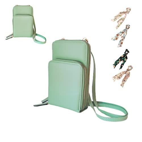 Pack» Mini Bolso Móvil Mujer para Colgar, Bolsa Bandolera con Tarjetero y Monedero + 1 Pañuelo para el Pelo(V)