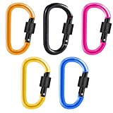 HUIMALL 5 PCS D-ring Carabiners, Climbing Carabiner Clips D-ring Keychain Hook Clips Heavy Duty Aluminum Alloy Large Locking Carabiner Hiking Clips with Screw Gate Lock for Outdoor Traveling