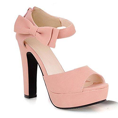 Minetom Donna Elegante-tacco alto peep-toe scarpe con l'arco Nodi EU 37 Rosa