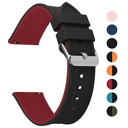 Fullmosa Silikon Uhrenarmband 22mm mit Schnellverschluss in 8 Farben, Regenbogen Weich Silikon Uhrenarmband mit Edelstahlschnalle,22mm Schwarz+Rot