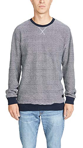 RVCA Men's Luxury Crew Neck Sweatshirt, Navy Marine, Blue, Stripe, Medium