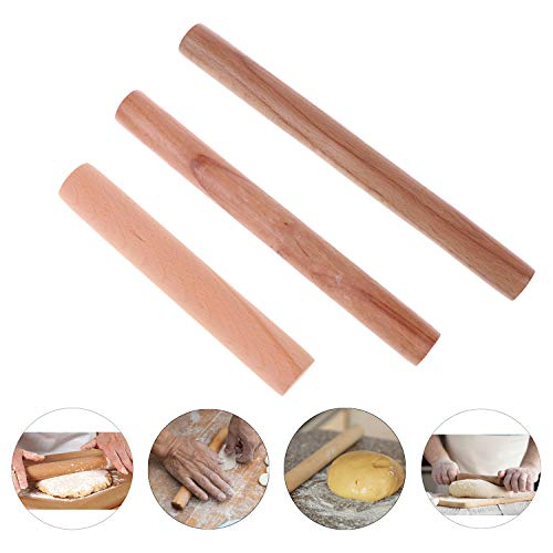 3 Sizes Rolling Pin Kitchen Wooden Rolling Pins Non-stick Baking Rolling Pins for Home Kitchen DIY Pizza Cookies Breads