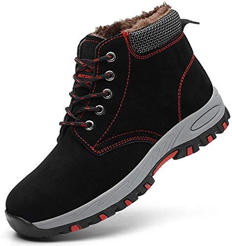 SROTER Mujer Hombre Invierno Botas de Seguridad Trabajo Zapatillas con Puntera de Acero Impermeables Botas de Nieve Zapatos de Trabajo Entrenador Unisex Zapatillas de Senderismo Blanco 43 EU