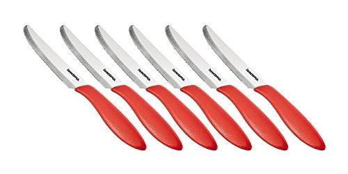 Tescoma 863054.20 Coltello Tavola, Acciaio Inossidabile, Rosso, 6 unità