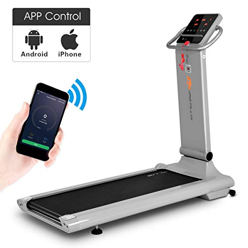 Goplus Electric Folding Treadmill, Free-Install Design, with APP Control and Touch Screen, Adjustable Incline and 90° Folding Running Machine, Perfect for Home use (Gray)