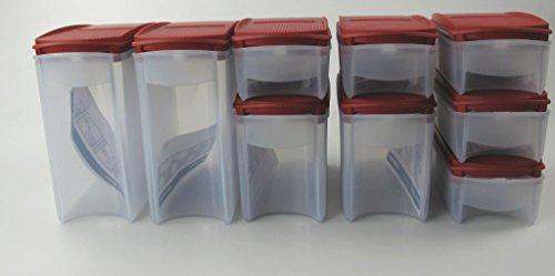 TUPPERWARE Eidgenossen Plus 1,6L (2) +1,0L (2)+350ml (5) rot Modular Vorratsdose P 25014