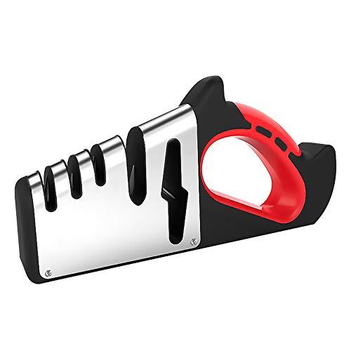 SHINROAD Messerschärfer, 5-stufiger Messerschärfer mit benutzerfreundlichem Griff, 5-in-1-Küchenmesser-Scherenschärfer mit Diamantkeramik-Wolfram&Rutschfester Basis, Küchenwerkzeuge