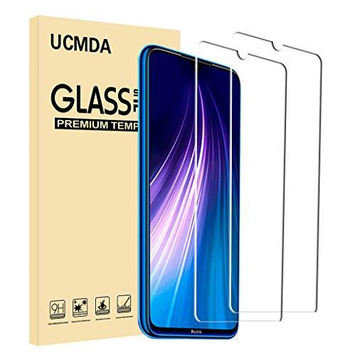 UCMDA Protettiva per Xiaomi Redmi Note 8, [2 Pezzi] Xiaomi Redmi Note 8 Protezione Schermo Vetro Temperato [Durezza 9H]