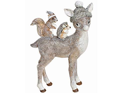 meindekoartikel Deko-Figur REH mit Mütze und Freunden aus Poly - Winterdeko Weihnachtsdeko (grau) B10 x H15 x T4cm
