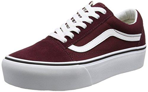 Vans Old Skool Platform, Zapatillas de Entrenamiento Mujer, Rojo (Port Royale/True White), 36.5 EU