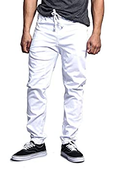 Victorious Mens Drop Crotch Jogger Twill Pants - White - 5X-Large
