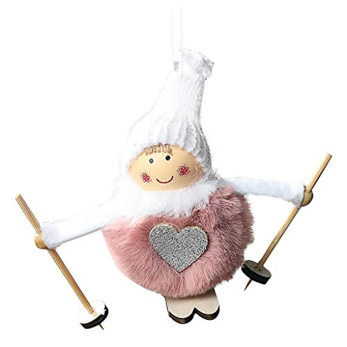 Fineday Christmas Tree Decoration Pendant Wool Feather Ski Doll Toy Pendant Pendant, Toys and Hobbies (Pink)