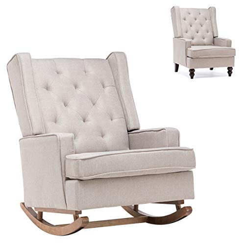 YOLENY Mid CenturyRocking Chairwith Two Sets of Legs,Linen Fabric Glider Rocker Chair with Padded Seat,Upholstered Single Sofa,Accent Chairfor Living Room, Bedroom,Beige