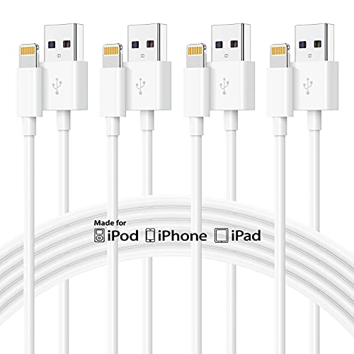 4Pack 10ft iPhone Cable, [Mfi Certified] Uzeuza Long Apple USB A to Lightning Cable, 10 Foot/3m iPhone Charging Cable, 10 Feet Apple Charger Cord for iPhone 12 Pro Max 11 Xs SE X 8 7 6 Plus iPad Mini