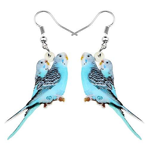XQAQW Pendientes de Cola Larga Acrílico Doble Gota de Agua Azul joyería Dulce Regalo de pájaro para Mujeres y Adolescentes