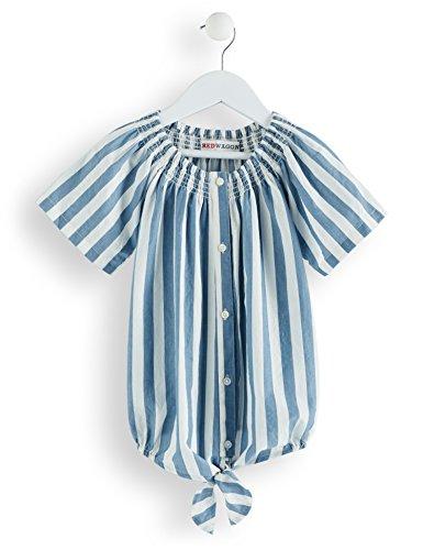 RED WAGON Mädchen Gestreifte Bluse mit Knoten, Weiß (Blue And White), 128 (Herstellergröße: 8 Jahre)