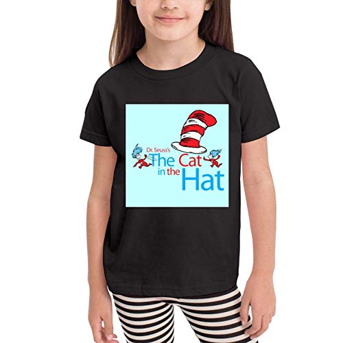 XCNGG Niños Tops Camisetas The Cat in The Hat Girls Short Sleeve T-Shirt Black