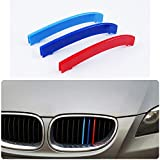para 04-10 5 Serie E60 (11 cuadrículas) 3 Colors M Styling Front Grille Trim Strips Cover Stickers 3 Piezas