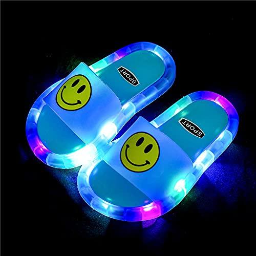 Perferct Zuecos Sanitarios Mujer Originales,Zapatillas Luminosas LED, Zapatillas Antideslizantes de Soft-SOBLED PVC, Sandalias de baño para niños, Chicas y Chanclas, niños pequeños-Bule Brilla_I 32