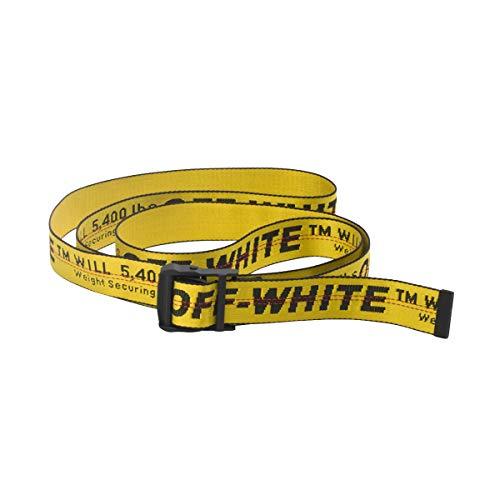 off white INDUSTRIAL riem geel designer riemen zwart gesp taille riemen 6.5ft lengte (Yellow)