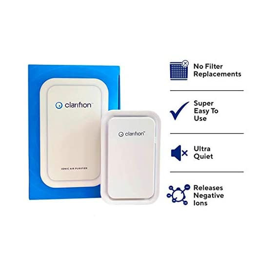 Clarifion - negative ion generator with highest output (1 pack) filterless mobile ionizer & travel air purifier, plug in… 8 for use in: bedrooms, corridors, bathrooms, living rooms, staircases, and other spaces/rooms. Removes bacteria & viruses | reduces allergens | relieves congestion | chemical free | helps reduce asthma | cleaner air eliminates dust, smog, smoke, allergens, pet dander, & bacteria to help keep air fresh & clean | smart design with led indication