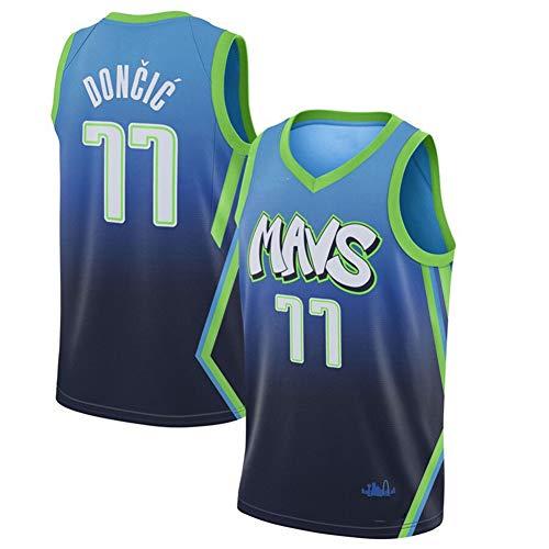 Aficionado al Baloncesto Jersey Hombre Luka Doncic # 77 Dallas Mavericks, Transpirable Vintage sin Mangas Camiseta Deportiva de Baloncesto Camiseta Deportiva de Manga Corta-Blue-S(170~175