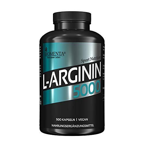 BIOMENTA L-Arginin 5000 – Premiumqualität – 500 vegane Arginin Kapseln - Normalgröße mit Top Preis-Leistungsverhältnis